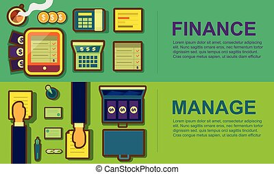 Business workspace and equipment concept banner set, finance, manage vector illustration