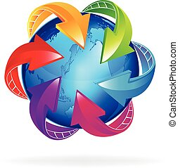 Business world arrows logo