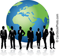 business world - business people on a world background