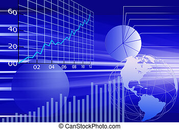 Abstract background of dynamic, business world financial data concepts in blue.
