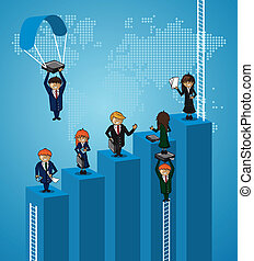 Business world map teamwork steps people.