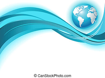 Business world map wave background