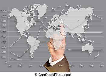 Business world, push on virtual world map