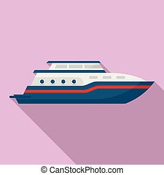 Business yacht icon, flat style