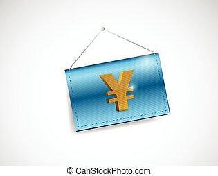 business, yen, illustration, signe, monnaie, pendre