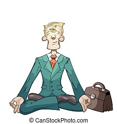 Business yoga - Businessman is meditating and relaxing in ...