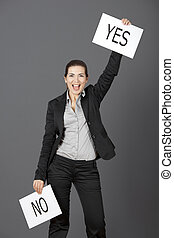 Yes choice - Business young woman choosing the Yes choice,...