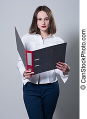 Business young woman with a folder