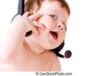 businessbaby - face portrait of smiling baby with headset