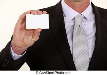 businesscard, 提出すること, 人