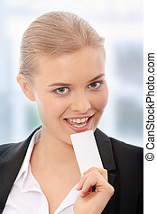 Businesscard - Beautiful businesswoman with businesscard, ...