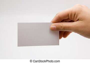 businesscard held by female hand with blank space to edit in...