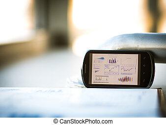 Businesschart with smart phone