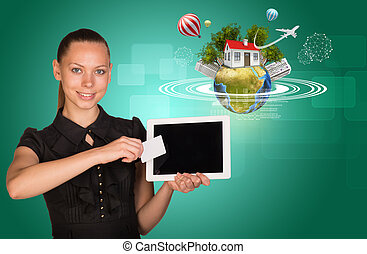 businesslady, holging, carte, tablette, vide