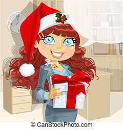 businesslady in Santa cap give gift