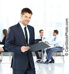 businessman írás, képben látható, egy, csipeszes írótábla