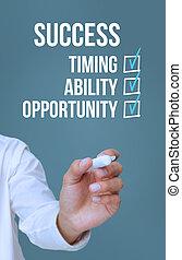 businessman írás, siker, kikötések