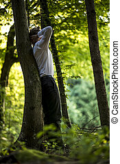 businessman ακουμπώ , διάθεση αναμμένος , ένα , κορμός δέντρου