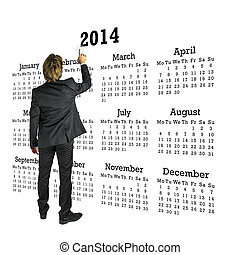 businessman ακουμπώ , in front of , ένα , 2014, ημερολόγιο