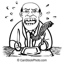 businessman αναβάλλω , μικροβιοφορέας , γελοιογραφία , food-drawing