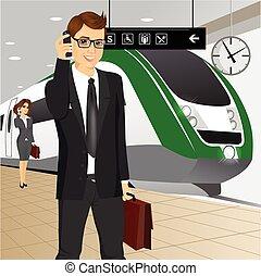 businessman αναβάλλω , τρένο