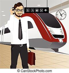 businessman αναβάλλω , τρένο , μανιώδης της τζάζ