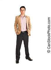 Businessman #120 - Businessman standing with hands in his...