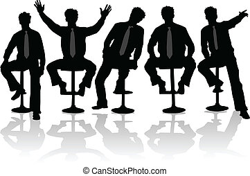 Businessman 2 , black silhouettes,