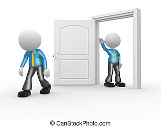 Businessman - 3d people - man, person kicked out the door