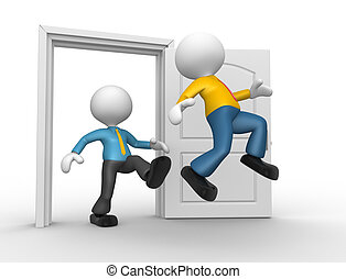 3d people - man, person kicked out the door