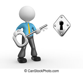 Businessman - 3d people - man, person with a key and keyhole...