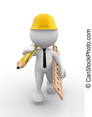 Businessman - 3d people - man, person with a ruler and a ...