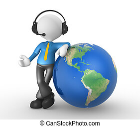 Businessman - 3d people - man, person with headphones and...
