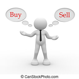 """3d people - men, person with bubbles. Words """"buy""""and """" sell'"""