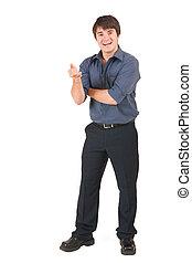 Businessman #63 - Businessman in blue shirt, talking