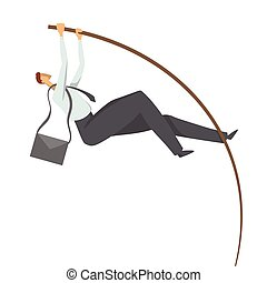 Businessman, a man in a business suit doing pole vaulting. Jump to success, vector concept illustration, isolated on white background.