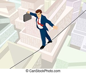 Businessman a rope - Vector illustration of a businessman a...