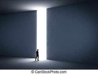 Businessman about to cross the entrance to the light....