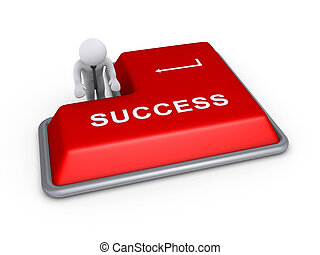 Businessman about to press success button