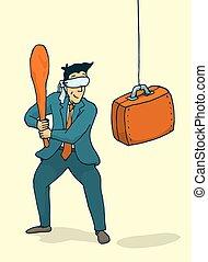 Businessman about to strike a suitcase piñata