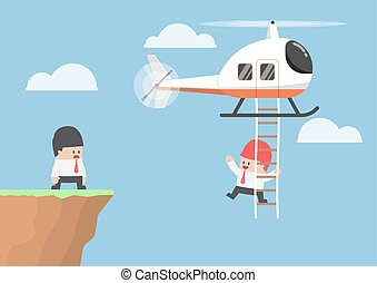 Businessman across the cliff by helicopter