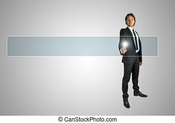 Businessman activating a navigation bar