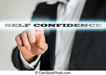 Businessman activating a Self confidence button on virtual scree
