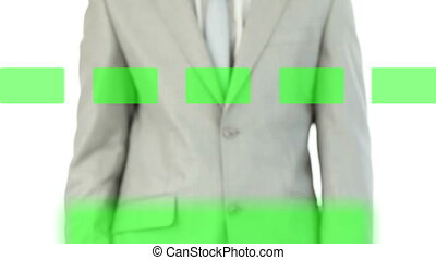 Businessman activating several copy spaces on touch screen