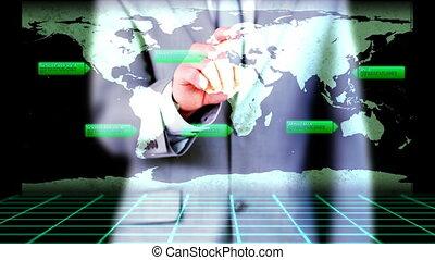 Businessman activating videos