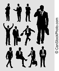 Businessman activity silhouettes. Good use for symbol, web ...