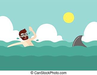 Businessman afraid with shark