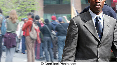 Businessman - African american businessman on the street