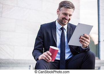 Businessman after successful deal