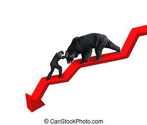 Businessman against bear on arrow downward trend line white...